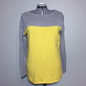 Chaps Gray & Yellow Color Block Sweater XL